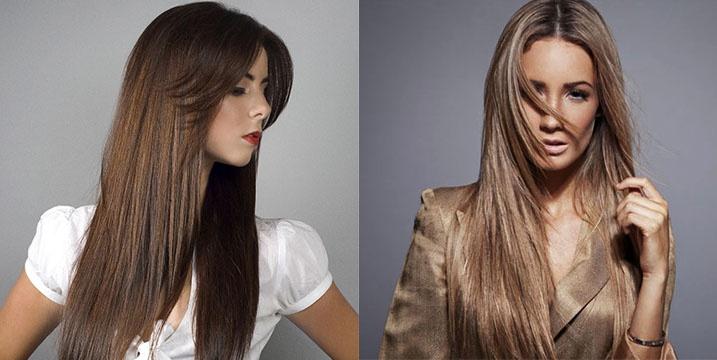 Причёска с прямыми длинными волосами